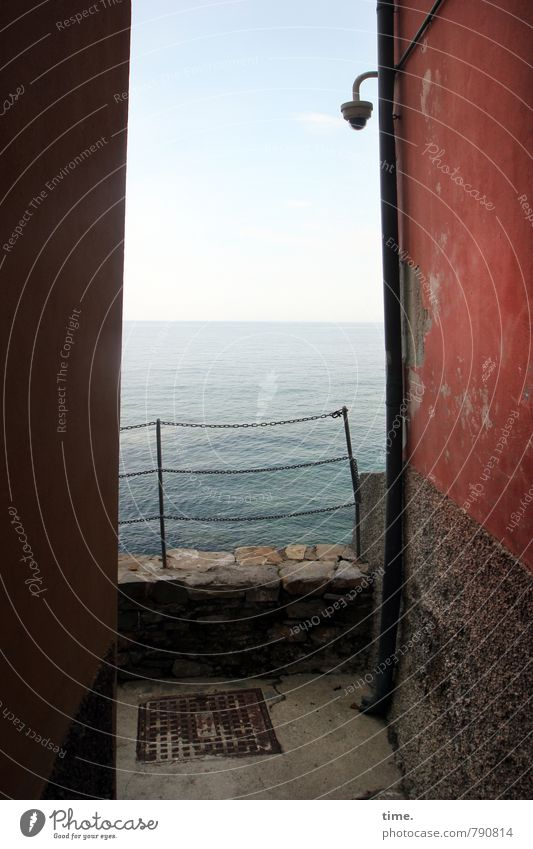 strait Water Sky Horizon Beautiful weather Ocean Mediterranean sea camiogli Small Town Outskirts House (Residential Structure) Old building Wall (barrier)