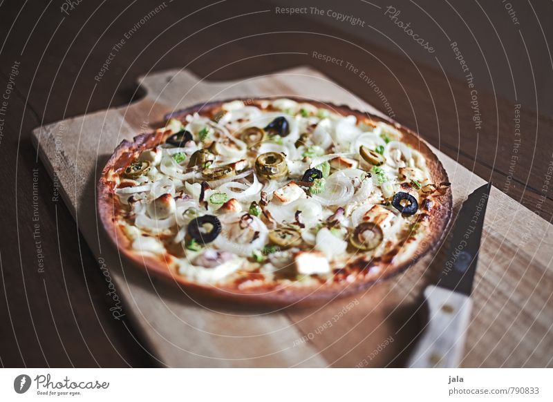 tarte flambée Food Dough Baked goods Nutrition Lunch Knives Chopping board Fresh Delicious Appetite Wooden table Colour photo Interior shot Deserted