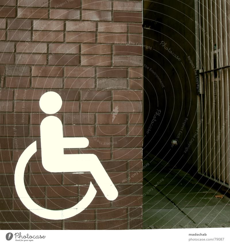 Human being Wall (barrier) Healthy Signs and labeling Transport Help Health care Signage Entrance Barrier Handicapped Independence Pictogram Icon Wheelchair