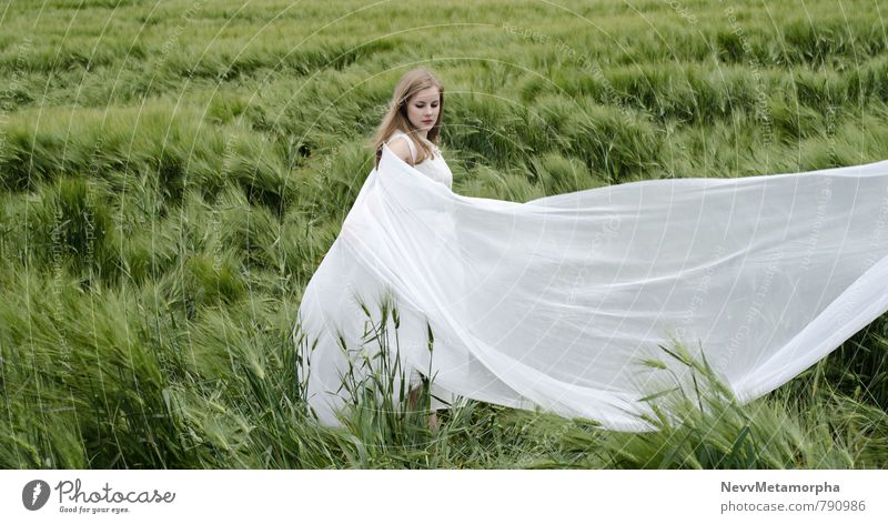 Human being Nature Youth (Young adults) Plant White Summer Young woman Landscape 18 - 30 years Adults Feminine Grass Bright Field Blonde Esthetic