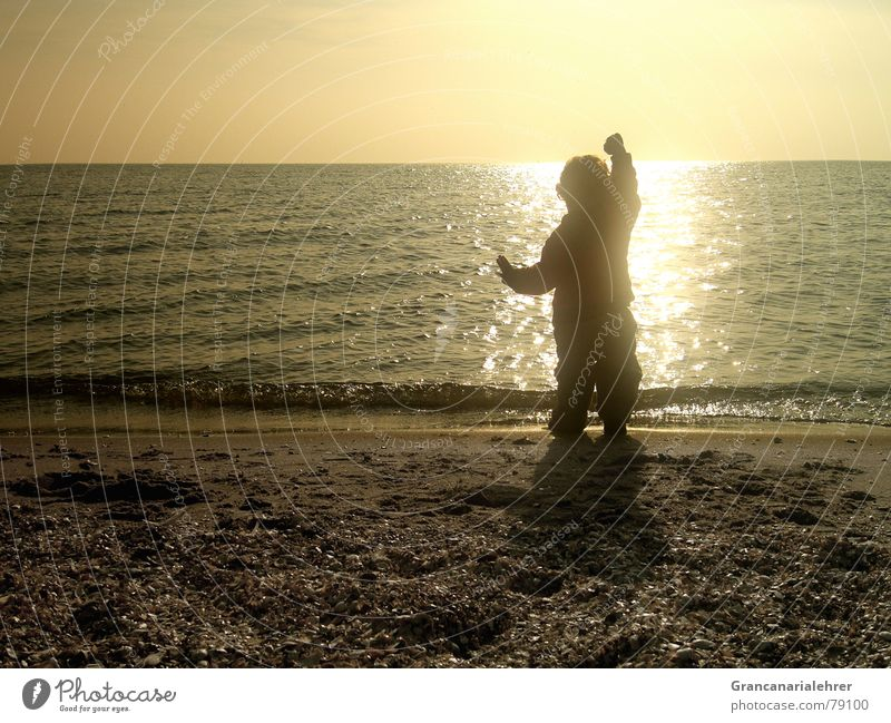 child's dream Ocean Beach Stony Child Black Shadow Girl Sunset Longing Loneliness Romance Playing Exterior shot Toddler Coast Calm Happy Boy (child) Water