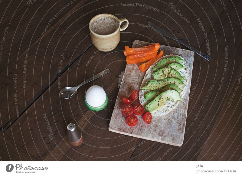 breakfast Food Vegetable Roll Tomato Pepper Avocado Hen's egg Cooking salt Nutrition Breakfast Beverage Hot drink Hot Chocolate Spoon Chopping board