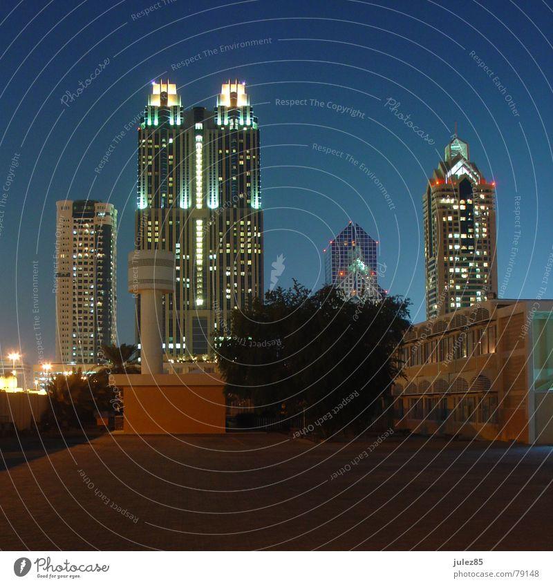 Twin Towers Dubai Night Light High-rise Backyard shangri la Evening Blue
