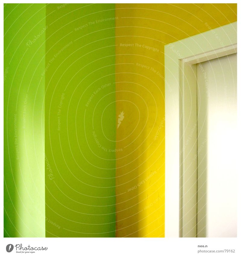 Green Colour Yellow Interior design Flat (apartment) Door Living or residing Modern Fresh Corner Clean Kitchen Painting (action, work) Pure Fruity Doorframe