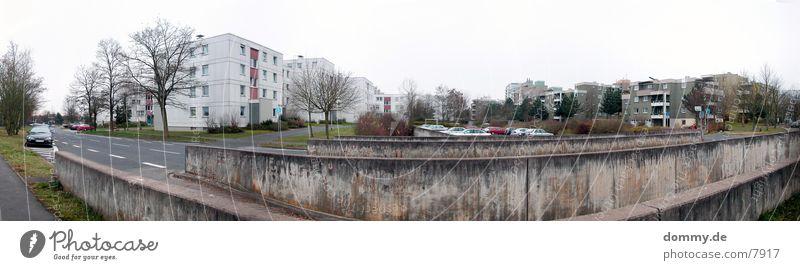 Street Car Large Transport Bushes Parking lot Panorama (Format) Distorted