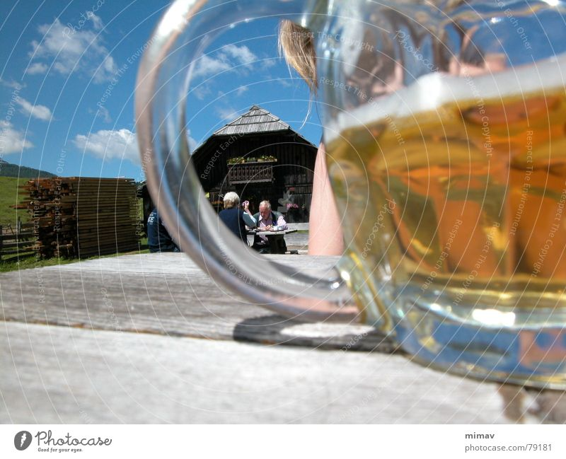 Sky Nature Vacation & Travel Summer Clouds Landscape Mountain Blonde Glass Hiking Table Break Alps Beer Hut Austria