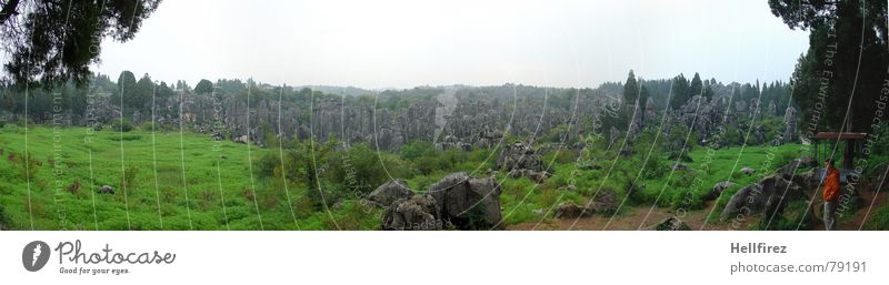 Nature Sky White Green Mountain Gray Landscape Large Rock Bulgaria Vantage point Asia China Yunnan Panorama (Format) Chinese
