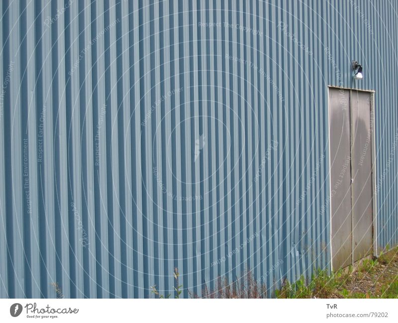 Blue Lamp Wall (building) Door End Entrance Access Corrugated sheet iron