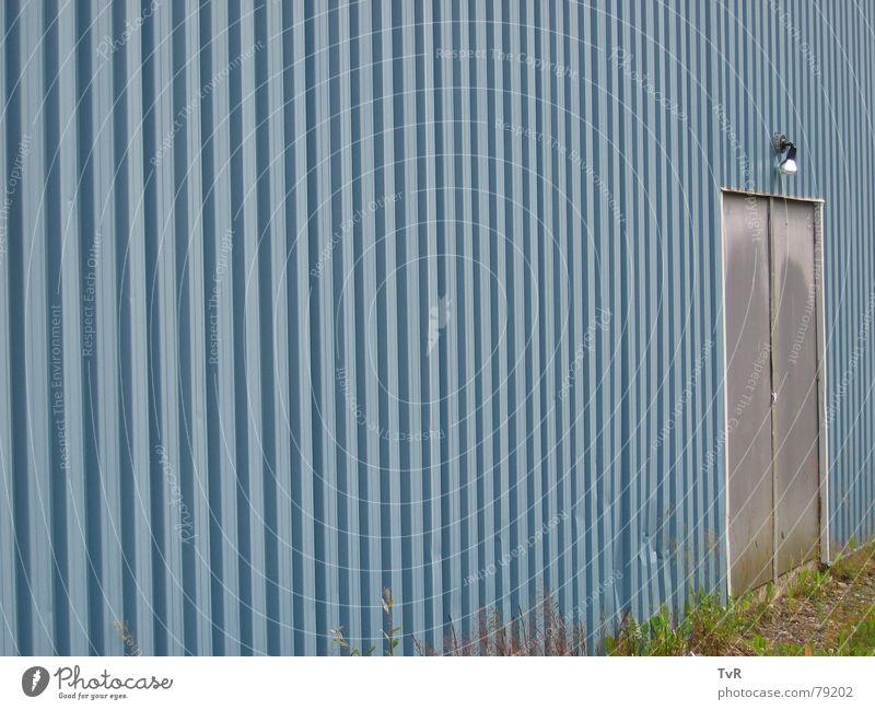 door Corrugated sheet iron Wall (building) Lamp Entrance Access Detail Door Blue End