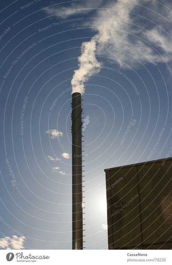 Sky Sun Blue Clouds Building Industry Smoke Chimney