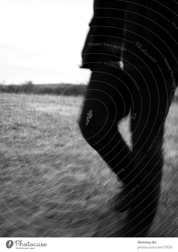 .:standstill:. Motion blur Field Grass Long exposure Legs Walking Black & white photo kaz
