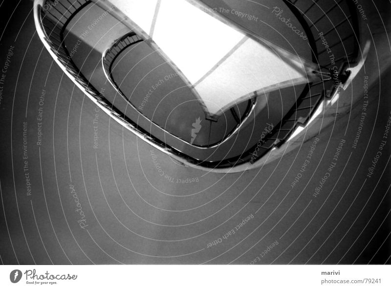 sailing Cloth Staircase (Hallway) Oval Under Light Spiral Winding staircase Black & white photo Sail Stairs Handrail Upward Blanket Shadow Perspective