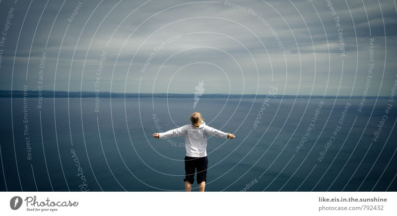 Blue Ocean Loneliness Far-off places Feminine Happy