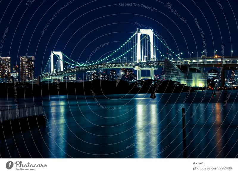 under the bridge Elegant Architecture Water Cloudless sky Coast Bay River Tokyo Rainbow Bridge Japan Town Capital city Port City Downtown Skyline Populated