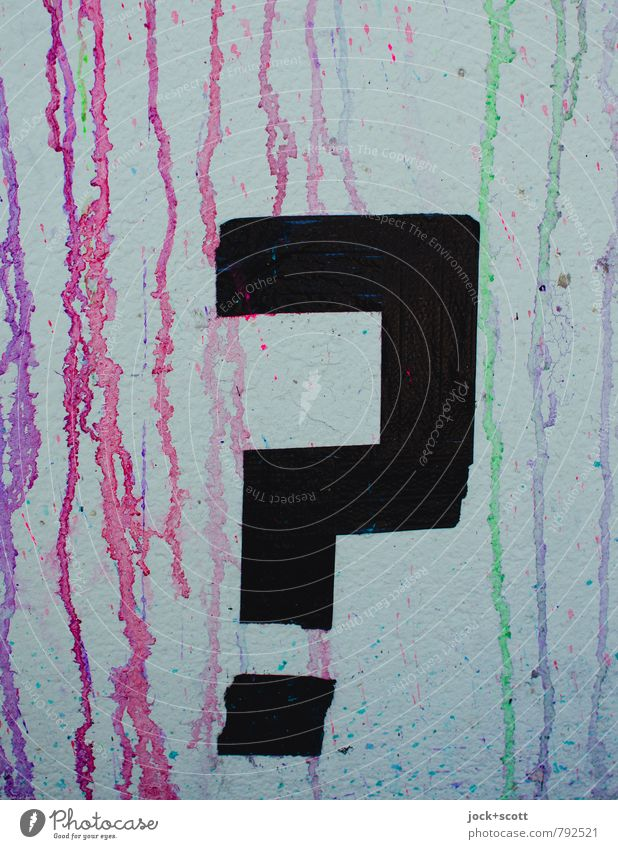 question mark Subculture Street art Adhesive tape Characters Signs and labeling Graffiti Stripe Question mark Exclamation mark Think Cool (slang) Sharp-edged