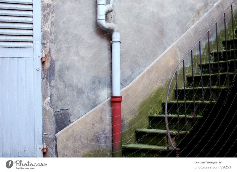 Old Blue Loneliness House (Residential Structure) Wall (building) Gray Wall (barrier) Dirty Flat (apartment) Arrangement Stairs Crazy Gloomy Derelict Handrail