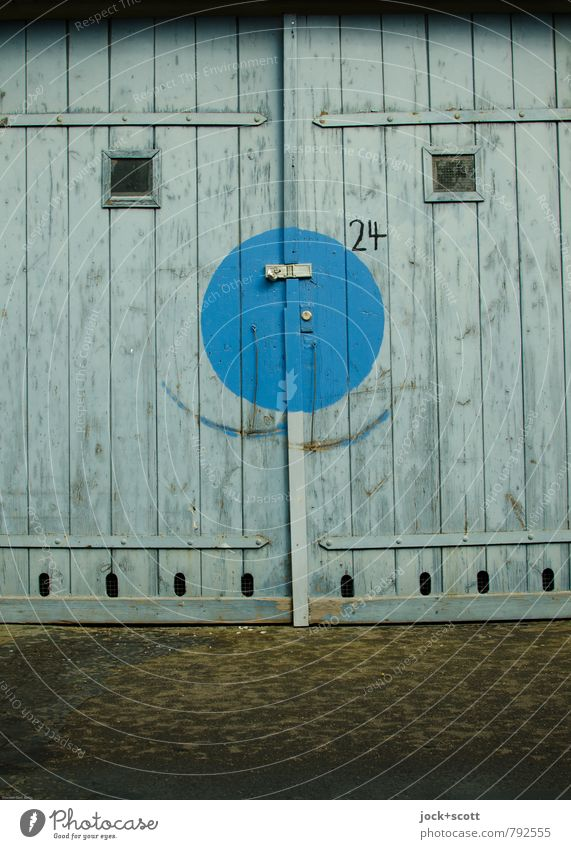Smile when you mean it. Sixties Illustration Garage Lock Bracket Wood Digits and numbers Circle Arch Smiling Happiness Positive Blue Joy Inspiration Change