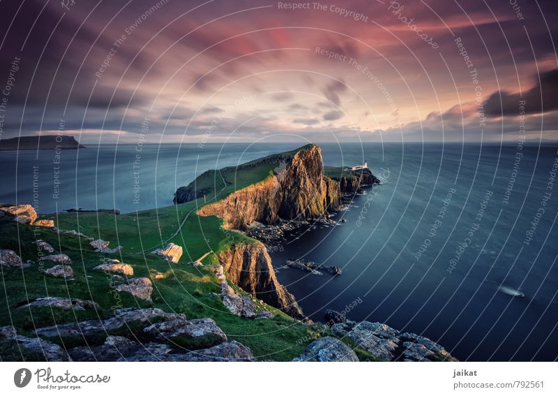 Scottish lighthouse Nature Landscape Lighthouse Pink Scotland Neist Point Isle of Skye Sunset Dusk Western islands Evening