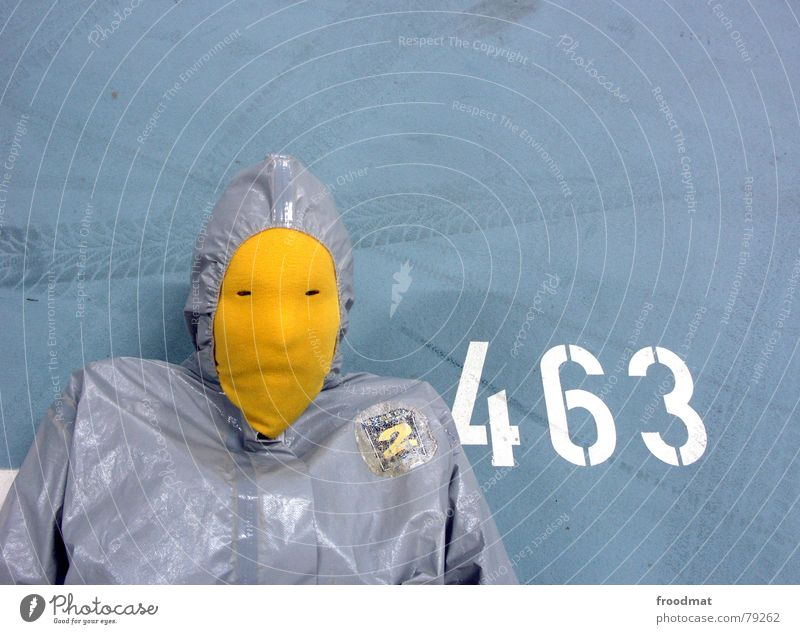 Blue Joy Yellow Gray Art Funny Crazy Characters Floor covering Digits and numbers Mask Suit Stupid Typography Surrealism Parking garage