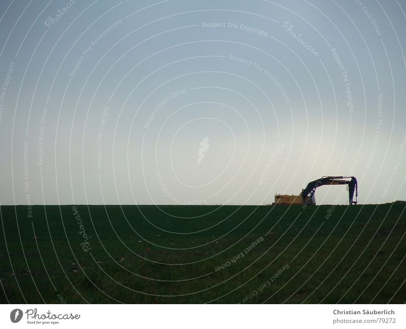 The sad excavator Construction machinery Scoop Loneliness Sky Excavator Meadow Agriculture Green Gloomy Mountain meadow Grass Paradise Cold Common land