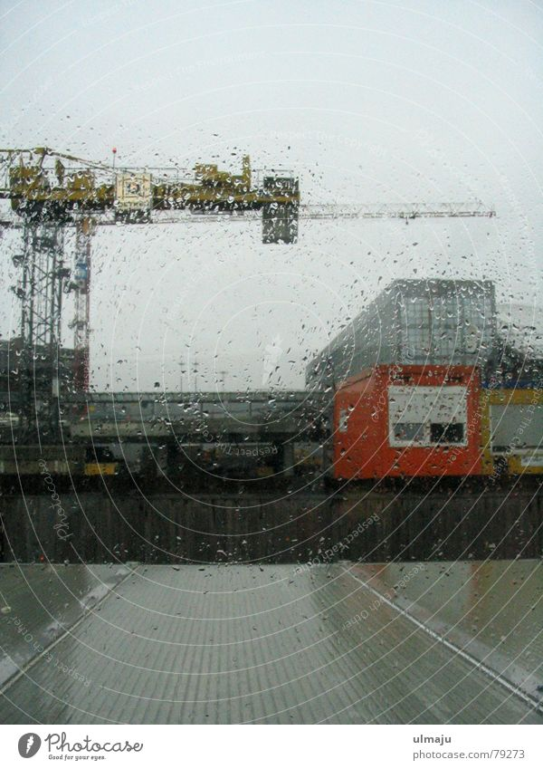 Gray Rain Drops of water Wet Hamburg Industry Gloomy Construction site Harbour Window pane Crane Container Dreary Pane Industrial district