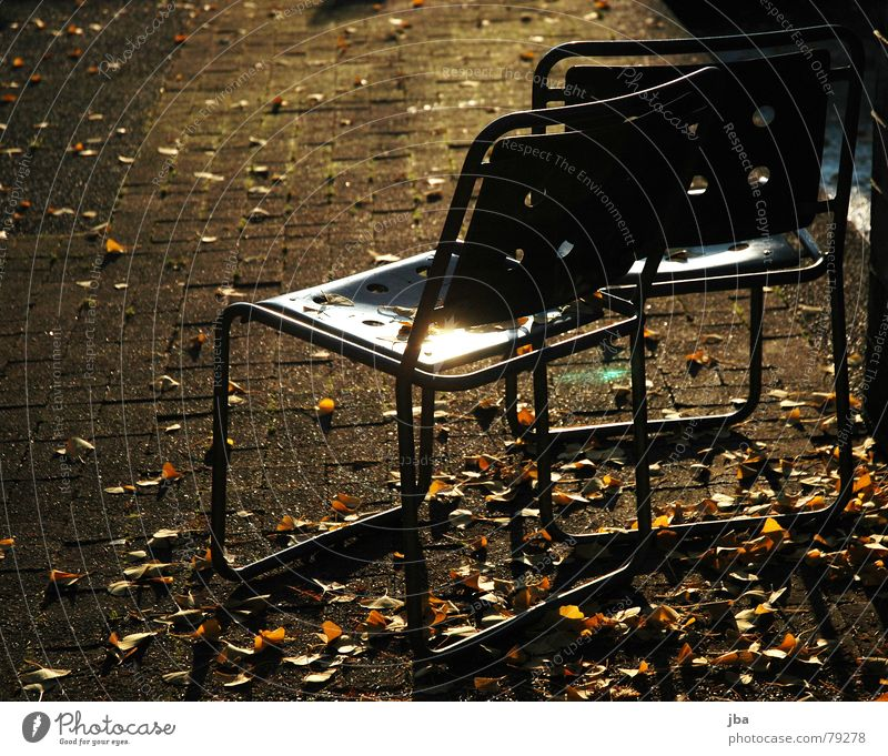 lonely and scattered Iron rod Stool Chair Hollow Evening sun Yellow Leaf Autumn Winter Cold Physics Reflection Furniture set back Metal Lie Warmth Rust Dusk Old