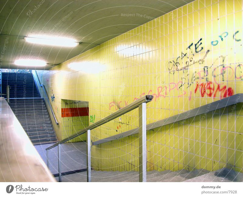 underground Subsoil Yellow Neon light Light Long exposure Underpass Stairs Handrail kaz