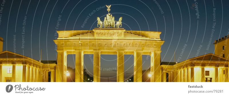 Primary Colors Panorama (View) Sunset Brandenburg Gate Night shot Historic Twilight Berlin Middle Large Panorama (Format)