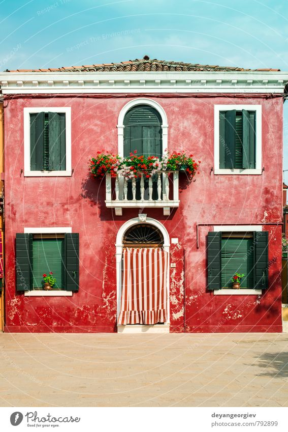 Bright red color house in Burano, Venice Vacation & Travel Blue Old City Beautiful Colour Summer Red Landscape House (Residential Structure) Street Architecture