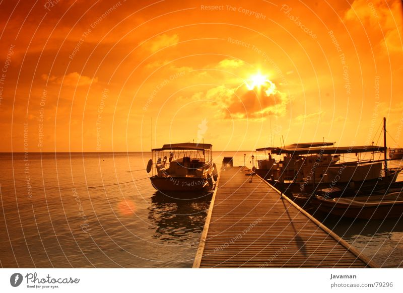 sunset v² Ocean Sunset Watercraft Vantage point Light Physics Hot Footbridge Beach Coast Island Warmth