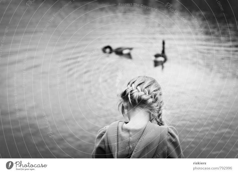 Human being Child Nature Beautiful Loneliness Calm Girl Animal Environment Sadness Feminine Natural Lake Dream Infancy Blonde