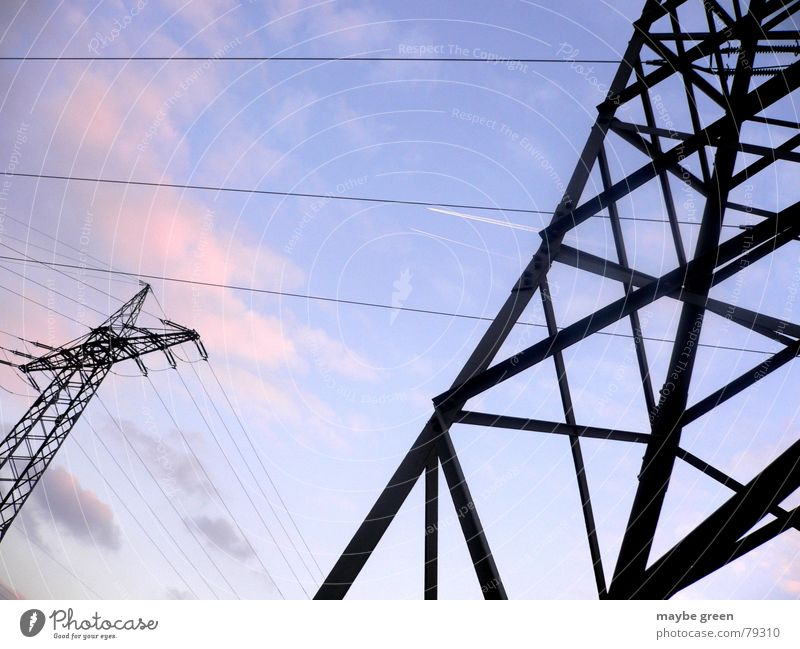 Nature Sky Blue Clouds Dark Bright Pink Tall Industry Energy industry Electricity Cable Media Connection Steel