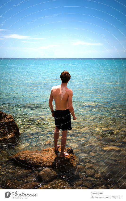 Human being Vacation & Travel Youth (Young adults) Water Summer Ocean Relaxation 18 - 30 years Young man Beach Far-off places Adults Life Coast Swimming & Bathing Freedom