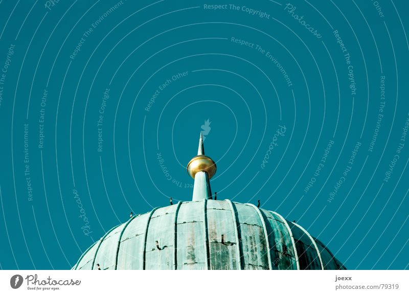 spiked helmet Cloudless sky Roof Domed roof Gold Sphere Old Historic Blue Verdigris Onion tower Patina Copper roof Colour photo Exterior shot Detail Deserted