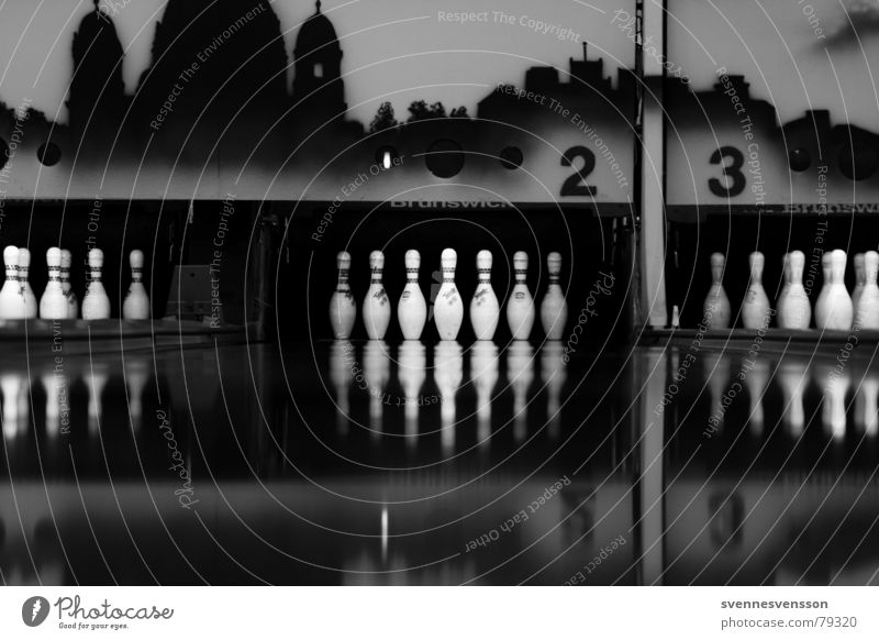 The pins? Bowling alley Nine-pin bowling 2 3 Parquet floor Sports Black Dark 23 Gloomy Black & white photo