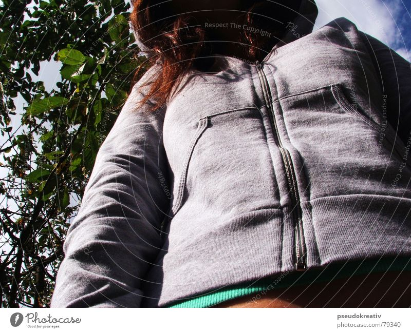 Woman Human being Tree Leaf Autumn Hair and hairstyles Fear Closed Perspective Sweater Anonymous Timidity Hooded (clothing) Foreign Clothing Unidentified