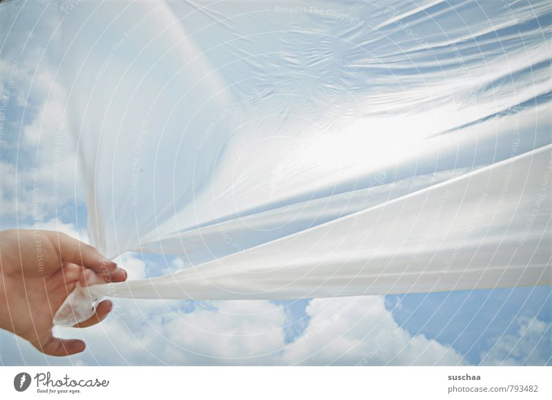 adherence Child Infancy Hand Fingers Sky Clouds Spring Summer Beautiful weather Plastic To hold on Blue plastic tarpaulin plastic foil Colour photo