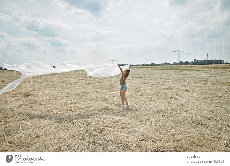 Human being Sky Child Nature Summer Landscape Clouds Girl Environment Feminine Field Body Wild Wind Infancy Free