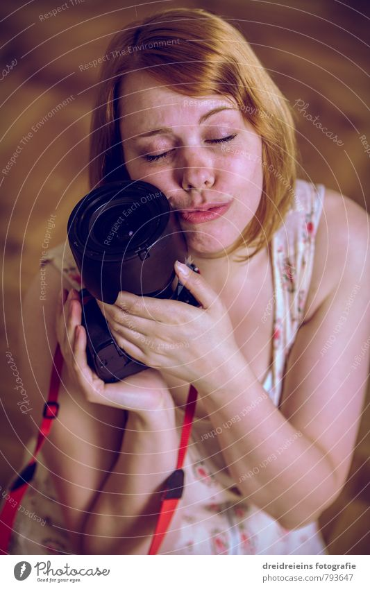 Human being Woman Youth (Young adults) Beautiful Young woman Adults Feminine Love Happy Dream Together Contentment Touch Romance Kitsch Camera