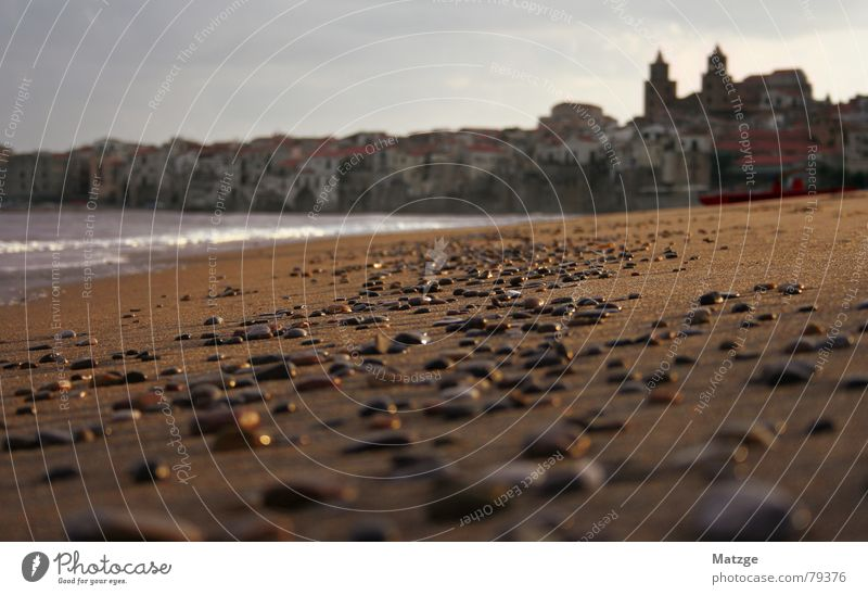 Cefalu Sicily Italy Beach Autumn Morning Town Ocean Waves Vacation & Travel Bathing place Cefalú Sand Stone Old town Dawn Coast Water