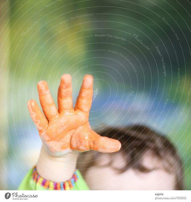 kleckserei - orange hand Human being Androgynous Child Toddler Hand 1 1 - 3 years Art Artist Work of art Esthetic Orange Joy Uphold Grasp Enthusiasm