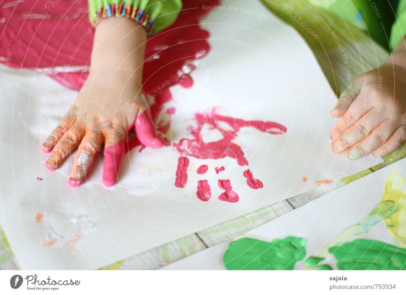 blotting - handprint Human being Androgynous Child Toddler Infancy Hand 1 1 - 3 years Artist Painter Red Creativity Joy Draw Finger paint Daub Multicoloured