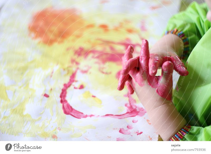 spilling - pink hands Human being Androgynous Child Toddler Hand Fingers 1 1 - 3 years Art Artist Painter Esthetic Multicoloured Yellow Green Orange Pink Joy