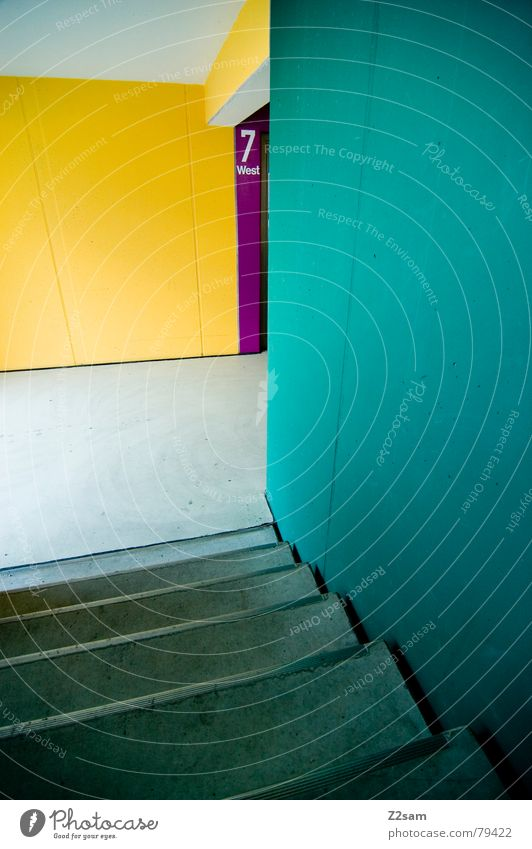 Green Blue Red House (Residential Structure) Yellow Colour Wall (building) Stairs Modern Corner Digits and numbers Story Ladder Garage