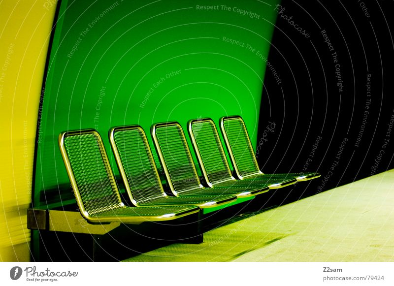 Green Black Yellow Colour Style Perspective Modern Round Bench Chair 5 Underground Seating London Underground Public transit