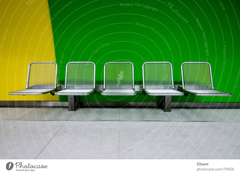 Green Yellow Colour Style Modern Bench Chair 5 Underground Furniture Seating London Underground Public transit Side by side