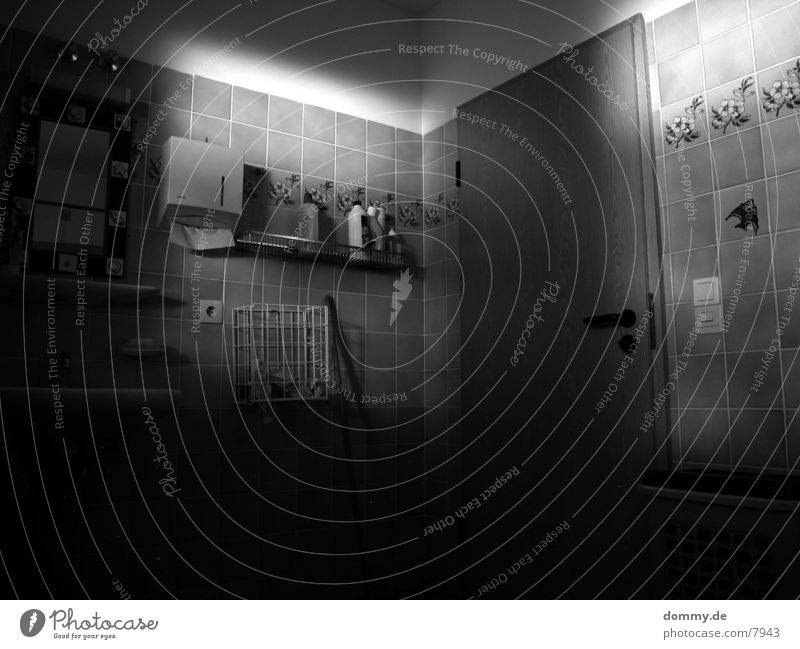 Light in the Bath Bathroom Mirror Architecture Door Black & white photo Tile kaz