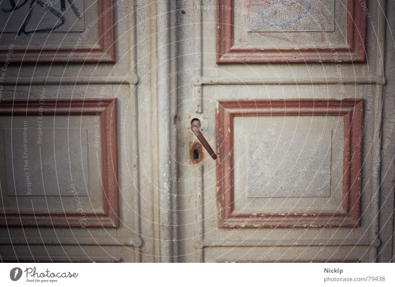 When doors were still made of wood, no... Art Door Wood Rust Ornament Graffiti Lock Dirty Historic Gray Red White Esthetic Mysterious Culture Nostalgia Decline