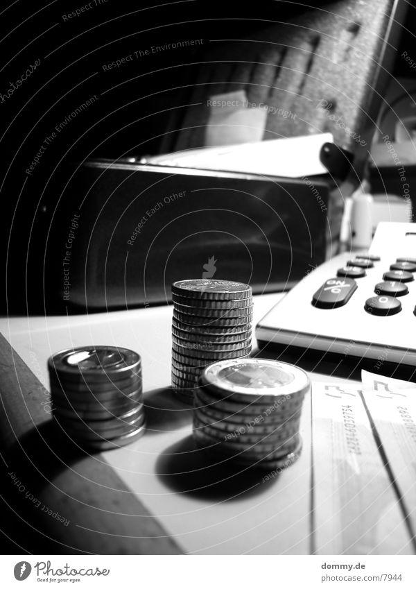 cash check Money Bank note Coin Cash register Pocket calculator Black & white photo kaz