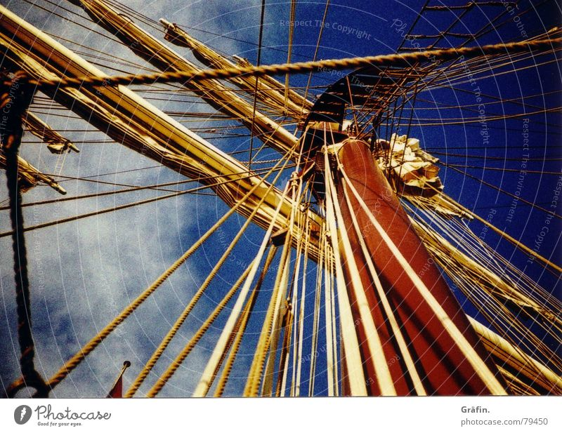 On sailors Rope Yardarm Rigging Watercraft Clouds Sailing Longing Ocean Berth Sky Light Jetty Harbour Lomography Playing hansa sail line Sheet Electricity pylon